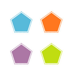 collection of colorful stitched pentagon shape vector image