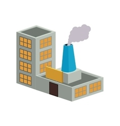 Colorful building industrial with single fireplace vector