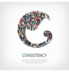 Consistency people sign 3d vector