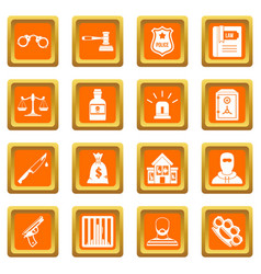 Crime and punishment icons set orange vector