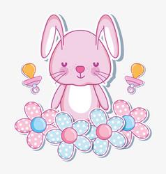 cute bunny cartoon card vector image