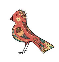 Cute coloring cartoon bird with boho pattern vector