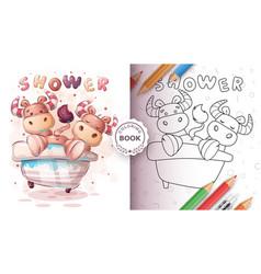 Cute ox bull in bathroom - coloring book vector