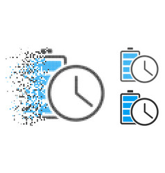 Disappearing pixel halftone battery time icon vector