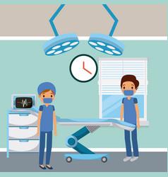 Doctors in hospital room surgery bed lights window vector
