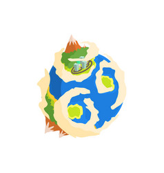 Earth planet with mountain and buildings cartoon vector
