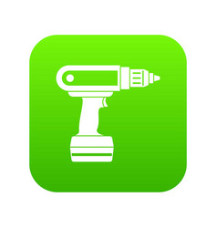 Electric screwdriver drill icon digital green vector