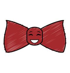 Elegant bowtie kawaii character vector
