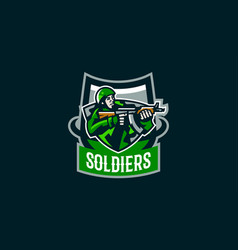 emblem soldier logo a military man vector image