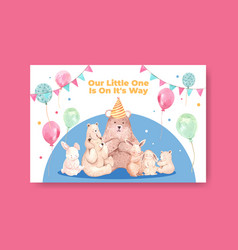 Facebook template with baby shower design concept vector