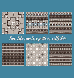 fair isle beige brown blue white seamless pattern vector image