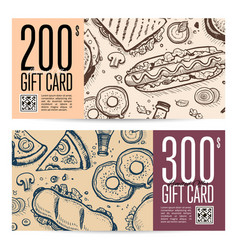 fast food restaurant gift card set in retro style vector image
