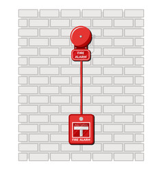 fire alarm and alarm button on a brick wall vector image