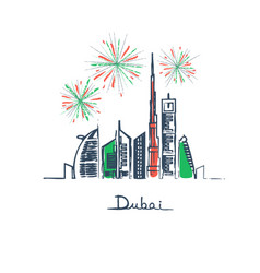 Fireworks in dubai city flag colors vector