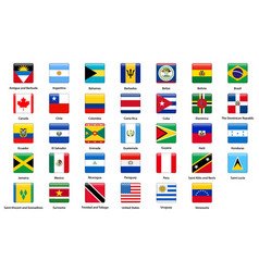 Flags all countries american continents vector
