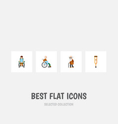 flat icon cripple set of handicapped man disabled vector image