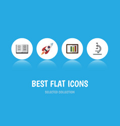 Flat icon science set of glass spaceship lecture vector