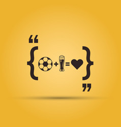 football plud beer is love quotation mark vector image