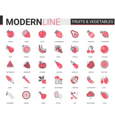 Fruits vegetables flat thin red black line icon vector