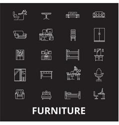 furniture editable line icons set on black vector image