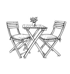 garden furniture table and two chairs vector image