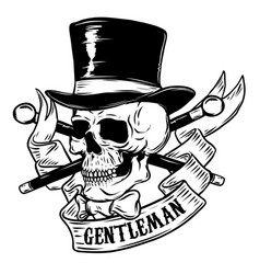 Gentleman skull in vintage hat design element for vector