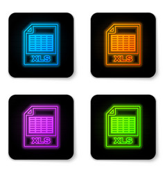 glowing neon xls file document icon download xls vector image