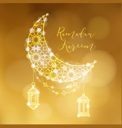 golden ornamental moon with arab lanterns and vector image