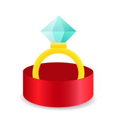 Golden ring with diamond in jewelry box vector