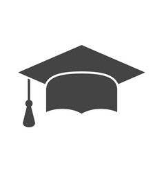 graduation cap flat design icon finish education vector image