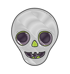 Grated funny skull decoration hallooween event vector
