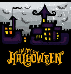 greeting card with spooky haunted halloween vector image