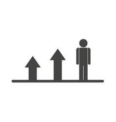 Growing business man graph flat icon vector