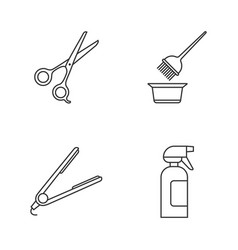 Hairdress linear icons set scissors coloring vector