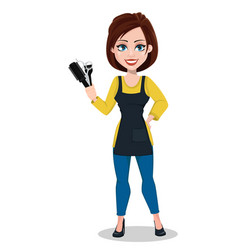 Hairdresser woman in professional uniform vector