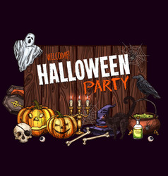 Halloween horror party sketch banner design vector
