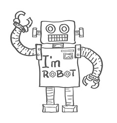 Hand drawn robot isolated on white background vector