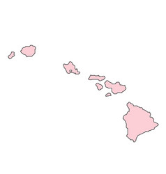 hawaii map isolated on white background silhouette vector image