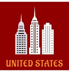 High american skyscrapers flat icons vector image