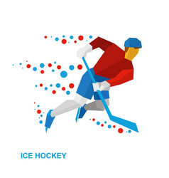 Ice hockey player with stick rides on skates vector
