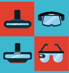 Icons set virtual reality flat vector