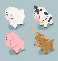 isometric 3d cute baanimals cartoon cubs flat vector image