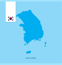 Korea south country map with flag over blue vector