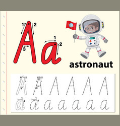 Letter a tracing alphabet worksheets vector