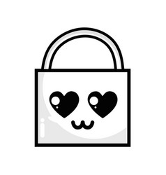 Line kawaii cute tender padlock element vector