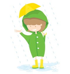 Little girl in rainy day vector