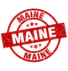 Maine red round grunge stamp vector