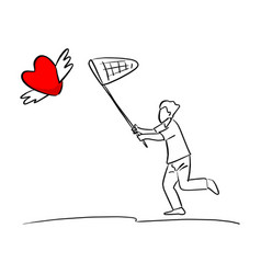 man using net to catch red heart shape sign with vector image