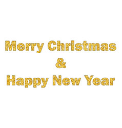 marry christmas and happy new year gold text vector image