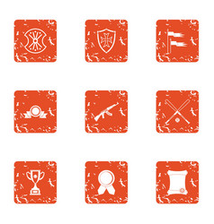 military decoration icons set grunge style vector image